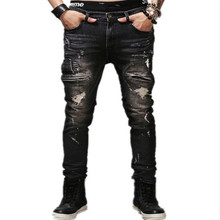 Slim Jeans Pants Hip Hop Men Hole Trousers Jeans Masculina Men's Casual Biker Skinny Rock Ripped Jeans Homme Thin Denim Pants