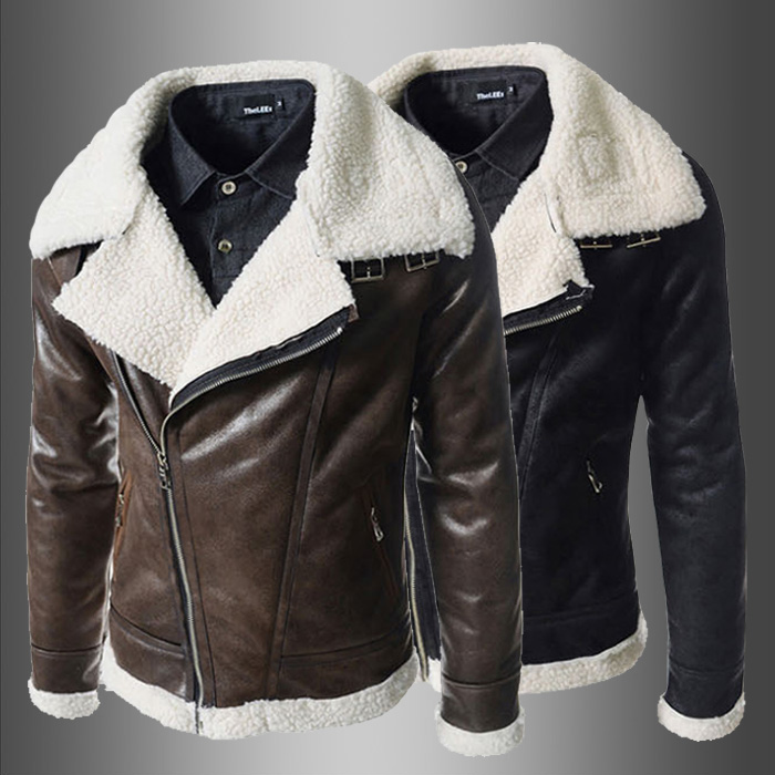New Men Camouflage Lamb Woolen Casual Fur Collar Plush High-grade Faux Leather Jacket European Style Dropshipping Top Coat