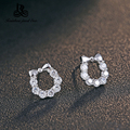 2016 New arrival hot sell Bow style super shiny Cubic zirconia 925 sterling silver ladies`stud earrings jewelry wholesale