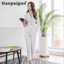 2019 Autumn OL Office Work 2 Piece Set Women Long Sleeve Black Stripe Suit and Slim Pants with Sashes Plus Size