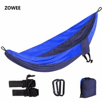 Double Person Hammock Parachute Portable Outdoor Camping Home Garden Sleeping Hammock Bed 550lb Max Loading Free