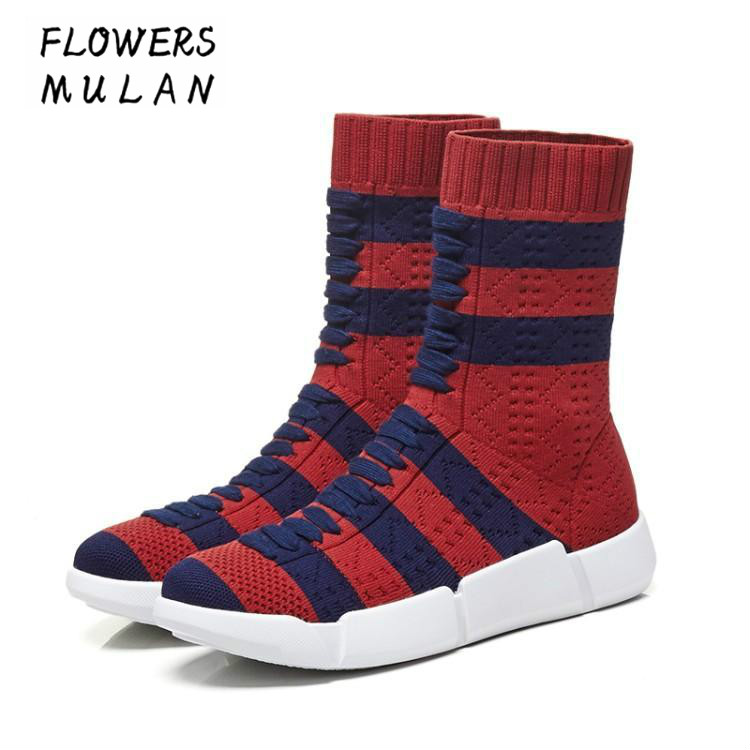 Fashion Show Socks Boots Shoes Women's Tube 2018 Autumn and Winter New Wild Wool Boots Knitted Boots Stretch Ankle Boots Woman fall and winter girls boots knitted wool boots elastic cotton cloth boots