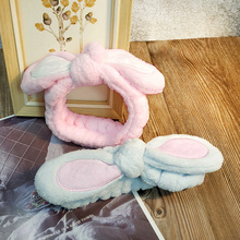 Women Korean Hairbands Cute Rabbit Ears Hair Accessories Wash Face Makecup Headwear Animal Flannel Mask Holder