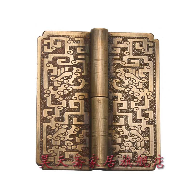 [Haotian vegetarian] antique Ming and Qing furniture copper fittings / carved 13cm long hinge / copper hinge HTF-027 [haotian vegetarian] chinese antique door hinge copper hinge htf 108 paragraph three flowers