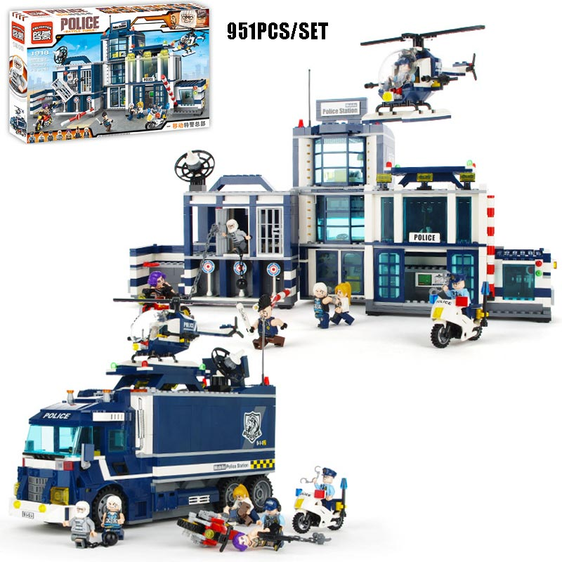 951PCS Large Size Police Station Police Department Motorcycle Helicopter Model Building Blocks Policeman Thief Bricks Kids Toys