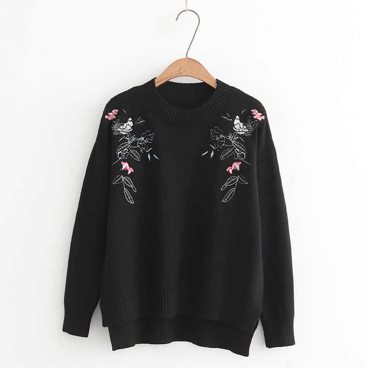 Fdfklak Brand Sweater 2017 New Spring Autumn Long Sleeve Print Winter Pullover Women Sweaters Black/White Knitted Sweater Q505