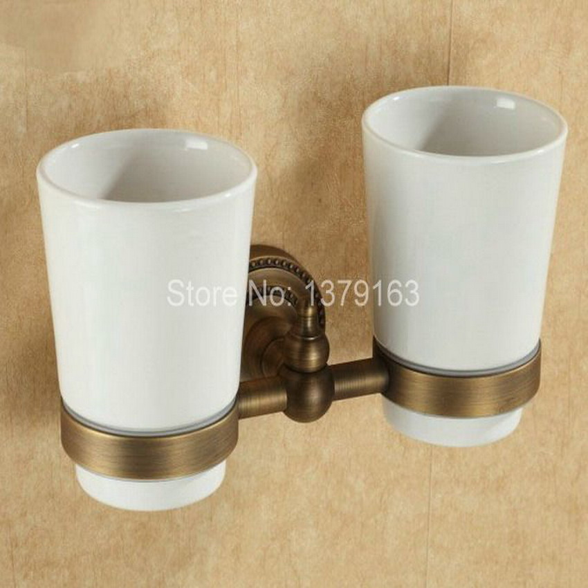 Antique Bronze Vintage Brass Bathroom Bath Tumbler Holder with Double Ceramics cup Wall Mount aba088 free shipping brass antique bronze double tumbler holder cup