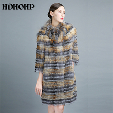HDHOHP 100% Real Silver Fox Fur Coat Winter Casual Real Fur Coats for Women Genuine Fox Fur Coat Long Style Outerwear Jackets