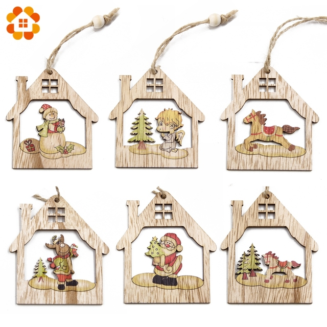 6PCS Creative House Wooden Pendants Ornaments DIY Wood Crafts For Xmas Tree Ornament Home Christmas Party Decorations Kids Gift