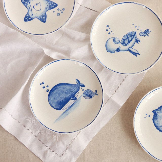 8 Inch Underwater World Series Bone China Ceramic Dishes u0026 Plates In-glazed Decoration Blue & 8 Inch Underwater World Series Bone China Ceramic Dishes u0026 Plates In ...