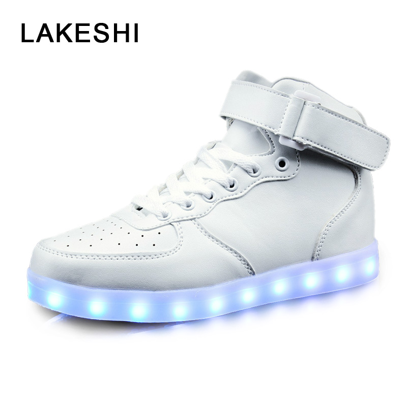 LED Shoes Men Shoes Fashion Led Luminous Shoes Men Casual Ankle Shoes USB Charger Men Footwear 8 color led luminous shoes unisex glow shoe men women fashion lover tide leather recharge usb light shoes