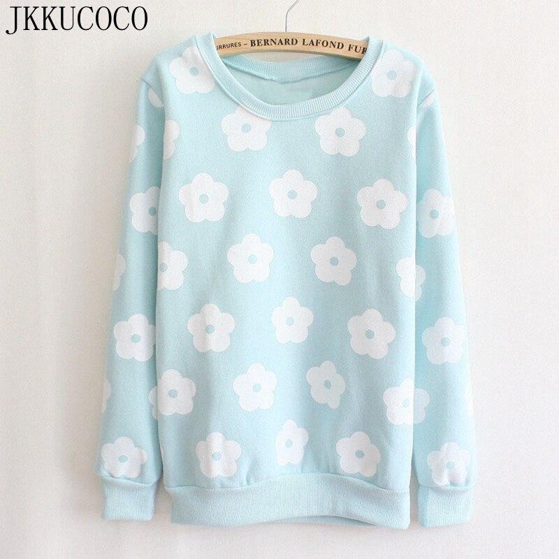 JKKUCOCO Beautiful patch flowers o neck pullovers cotton women s hoodies winter warm fleece sweatshirts Women