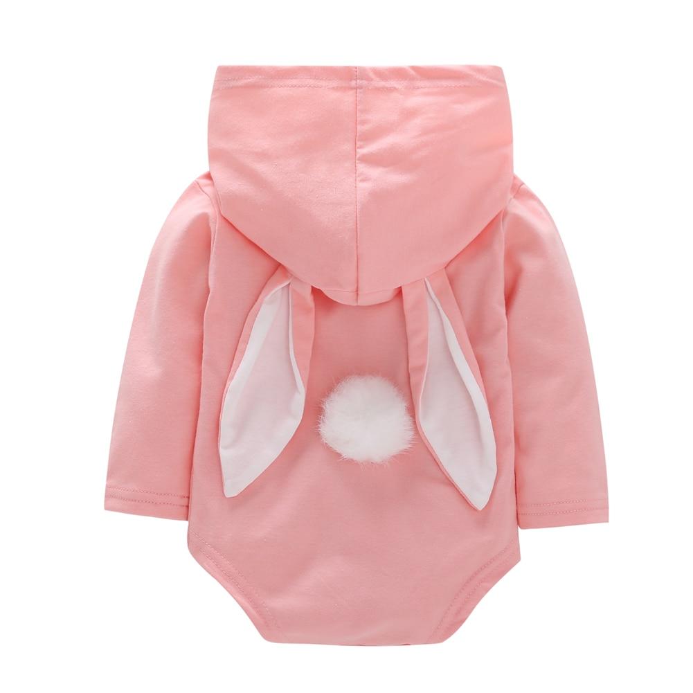 Lovely Newborn Baby Girls Cartoon Rabbit Ear   Romper   Long Sleeve Hooded Kids Jumpsuit Outfits