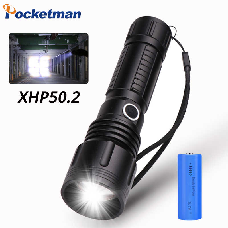 40000Lumens Most Powerful Lantern XHP50 Led Flashligh 5Modes Zoom Led Torch distance 500m USB Rechargeable 18650 or 26650