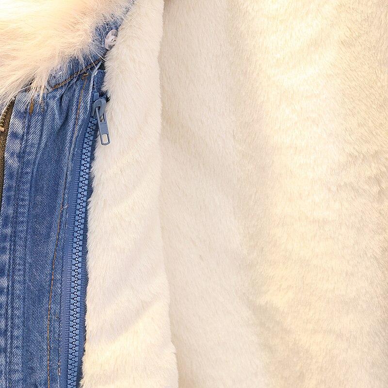 2018 Bonu D'agneau Grand Manteau Hiver Parka Long De Bleu Le Veste Fourrure Chaud D'hiver Avec Épais Denim Nouvelle Femmes 1xFdqfFnw