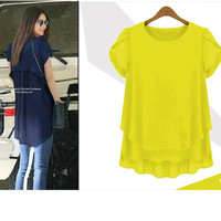 Women Chiffon Blouse 2015 Summer New Large Size Women Loose In The Long Section Fat MM
