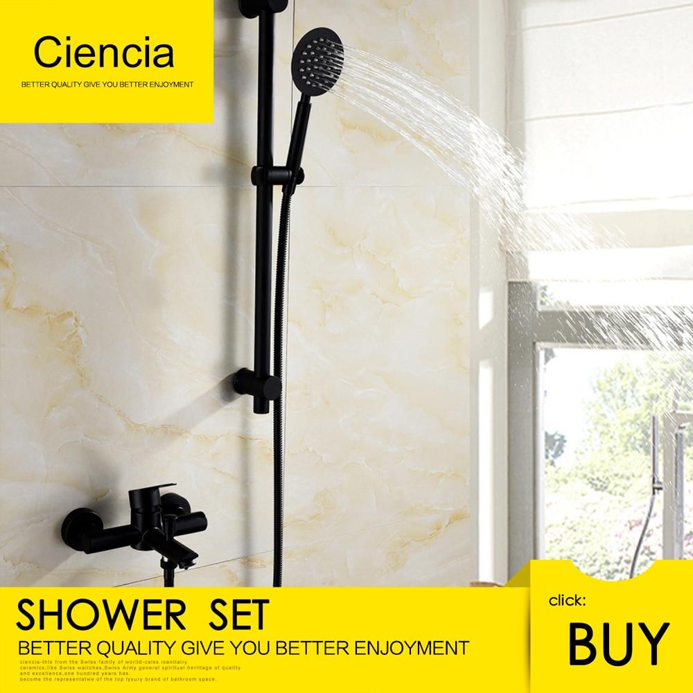 Free Shipping Stainless Steel Black Shower Set With 1.5m Shower Hose Faucet Hand Shower Sliding Bar For Bathroom Washroom