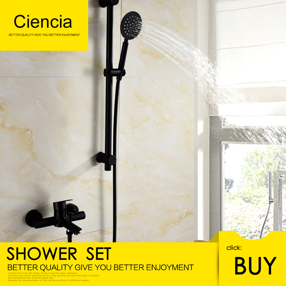 Free Shipping Stainless Steel Black Shower Set With 1.5m Shower Hose Faucet Hand Shower Sliding Bar For Bathroom Washroom