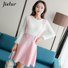 Jielur Autumn Winter Women Dress A-Line Elegant Pink Knitted Sweet OL Sweater Loose Beautiful Vestidos De Fiesta