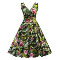 f59af9f691d7c9 Sexy V Neck Skater Dress 2019 Ladies Vintage 50s Women Summer Dress Green  Print PinUp Tunic