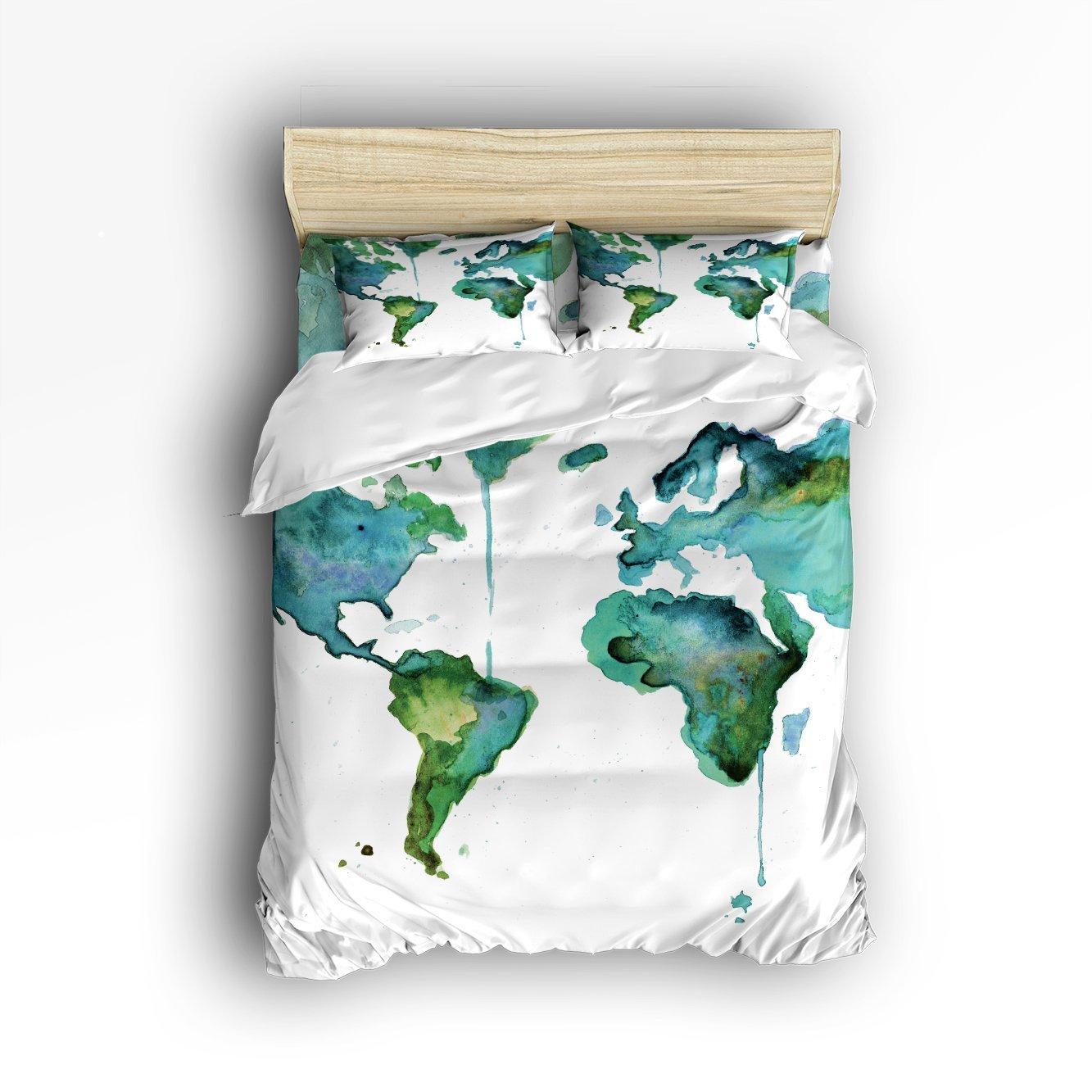 €98.41 36% de réduction CHARMHOME offre spéciale carte du monde imprimer 3d  ensembles de literie 4 pièces housse de couette drap de lit taies ...