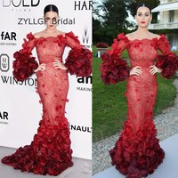 ZYLLGF Bridal Sexy Mermaid Long Sleeve Celebrity Dresses 2017 Long Women Lace Red Carpet Dress Formal Gown With Flowers DR34