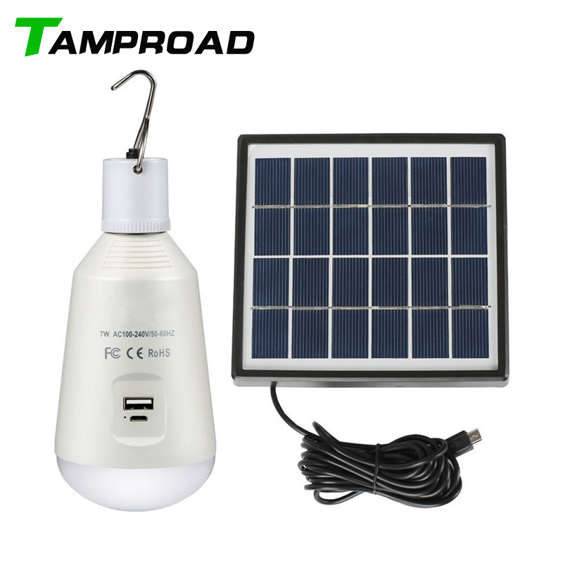 TAMPROAD Portable Solar Power Lamp <font><b>Led</b></font> Bulb Luminaria Tent Hiking Flashlight Solar-panel Outdoor Garden Emergency Camping Light image