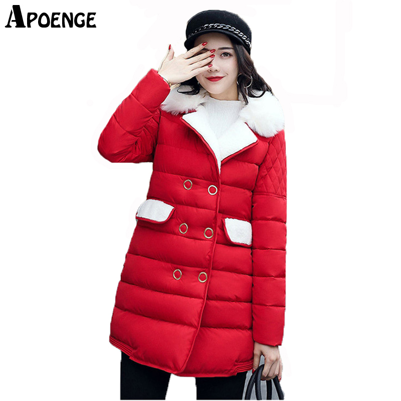 APOENGE Plus Size Women Winter Jacket and Coat 2017 New Cute Turn Down Collar With Fur Cotton Padded Parka Mujer Overcoat QN520 apoenge plus size women winter jacket 2017 winter long thick coat with fur collar hooded cartton cotton padded parka mujer qn637