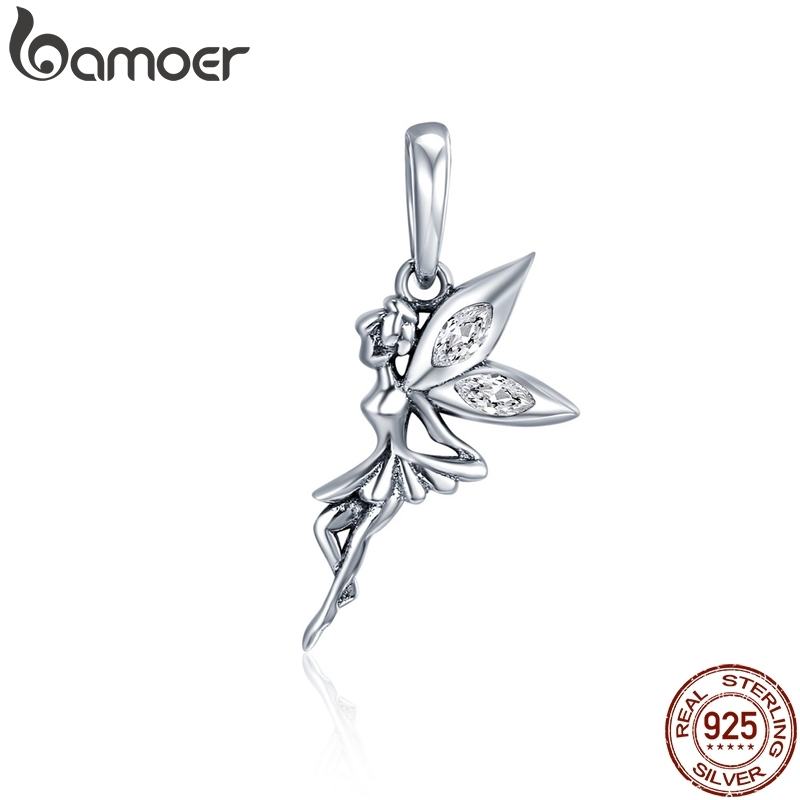 BAMOER Authentic 925 Sterling Silver Flower Fairy Dangle Pendant Charms fit Women Charm Bracelets & Necklaces jewelry SCC359(China)