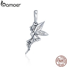 BAMOER Authentic 925 Sterling Silver Flower Fairy Dangle Encantos Pingente fit Mulheres Charme Pulseiras & Colares de jóias SCC359(China)