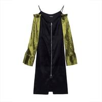 Young17 Autumn Dress Women Black Backless Patchwork Zipper Color Block Mid Calf Streetwear V Neck Dress