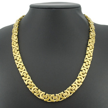 1pce Promoción! 11mm Oro 2 Tone Plana Bizantina Collares Hombre accesorios de La Joyería gargantilla collar de Cadena de Acero Inoxidable BN101