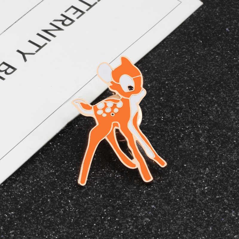 ファッション動物漫画ブローチタツノオトシゴカエルウサギ鹿金属エナメルピン女性男性デニムジャケットバッグラペルピンバッジジュエリー
