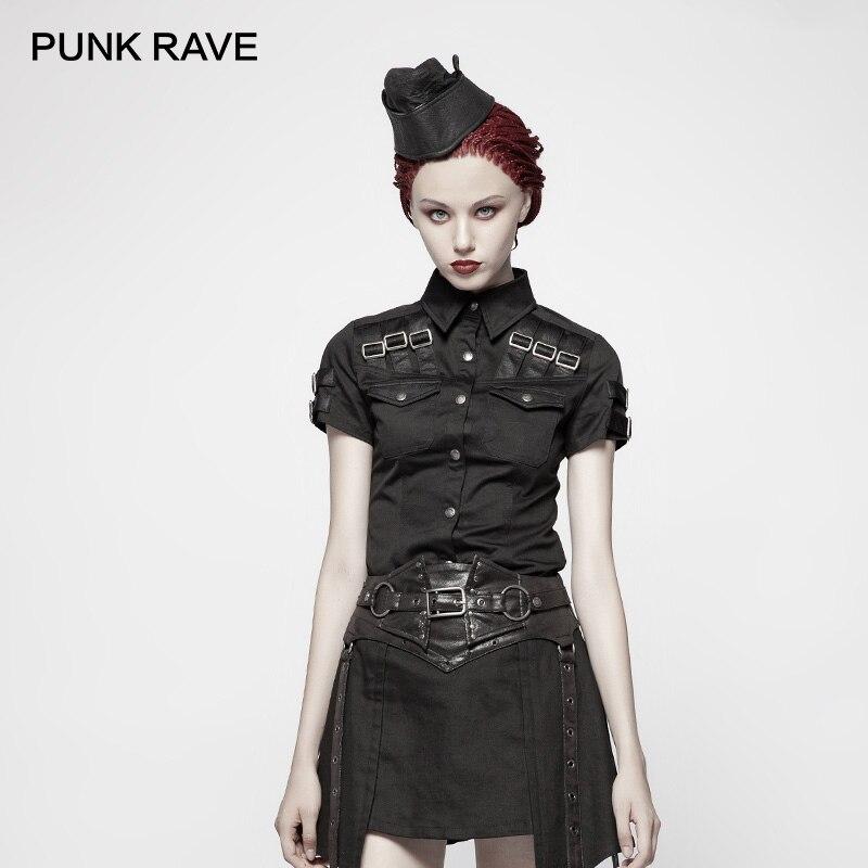 PUNK RAVE Women Shirts Punk Style Military Shirt Fashion Short Sleeve Black Turn-down Collar Retro Cotton Handsome Blouse