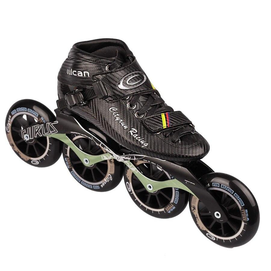 Cityrun Скорость роликов углерода Волокно профессионального конкурса коньки 4 Колёса Racing катание patines подобные Powerslide