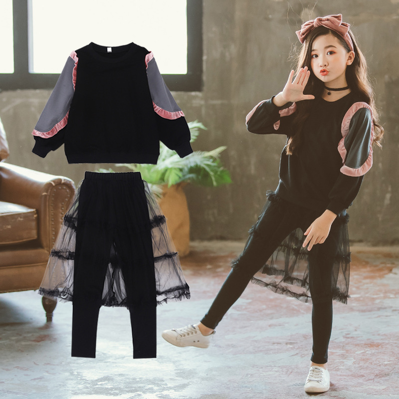2018 New Autumn Sports Suit For Girls Clothes Long Sleeve Kids Outfits Toddler Girls Clothing Sets Sweatshirts + Skirts Leggings
