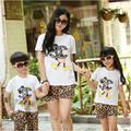 New 2015 summer Family Kids Baby Mickey T shirt + Leopard Pants Girls Boys sets, Mother and daughter clothes