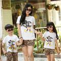 Novo 2015 de verão da família crianças Mickey T + calças de leopardo meninas meninos conjuntos, Mãe e filha roupas