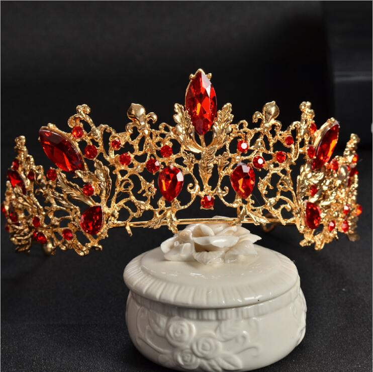 Baroque Gold Vintage Red Crystal Bridal Tiaras Wedding Hair Accessories  Silver Rhinestone Pageant Prom Crown for 907a89419cde
