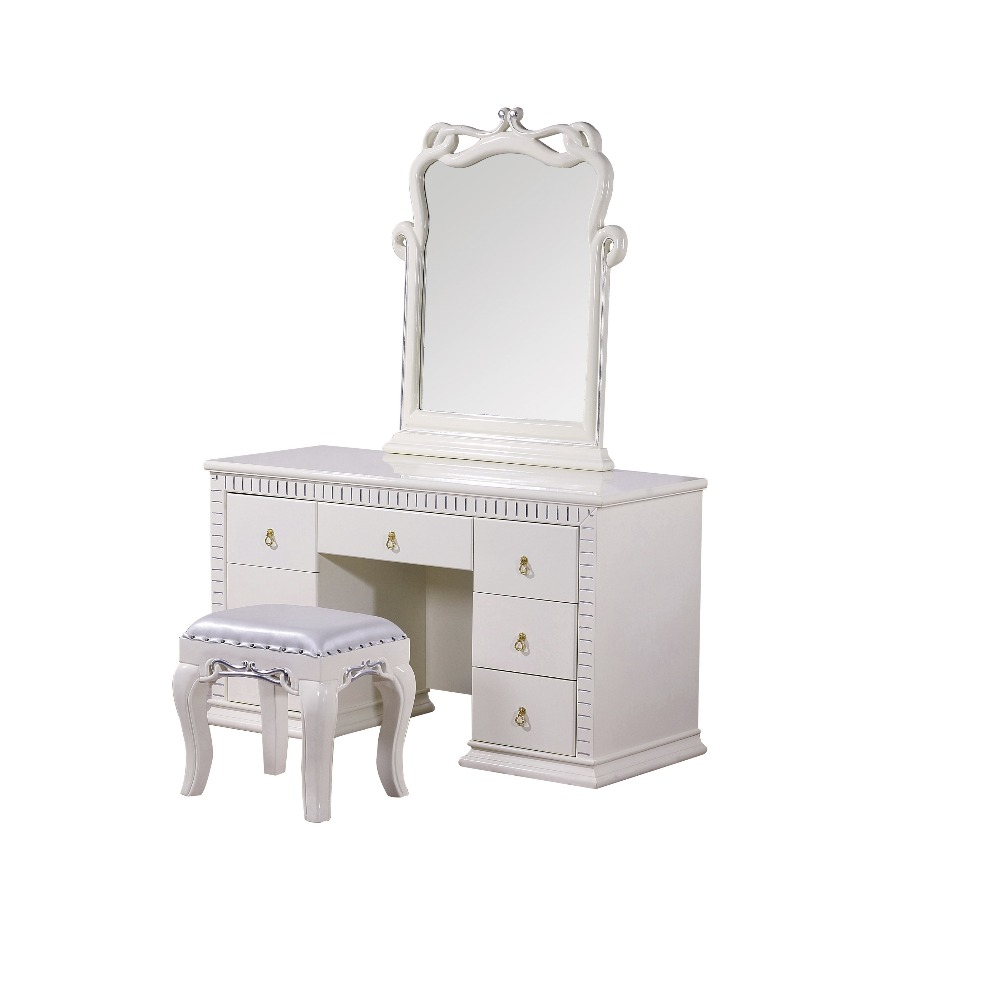 bedroom home furniture dresser table with 7 drawers mirror and stool modern style KD packaged wooden carved materials bedroom home furniture dresser table with 2 drawers mirror and stool neoclassical style kd packaged wooden carved materials