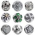 Wybeads encanto de plata clip de la flor broche encantos europeos cupieron las pulseras y brazaletes accesorios diy joyería making original