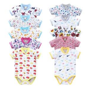 Image 2 - 2020 Nhỏ Mới Q Nữ Tay Ngắn Một Mảnh Bodysuits 10 Cái/lốc Sơ Sinh Nguyên Chất 100% Cotton Quần Áo Bé Gái Mùa Hè Trẻ Em In Hình quần Áo