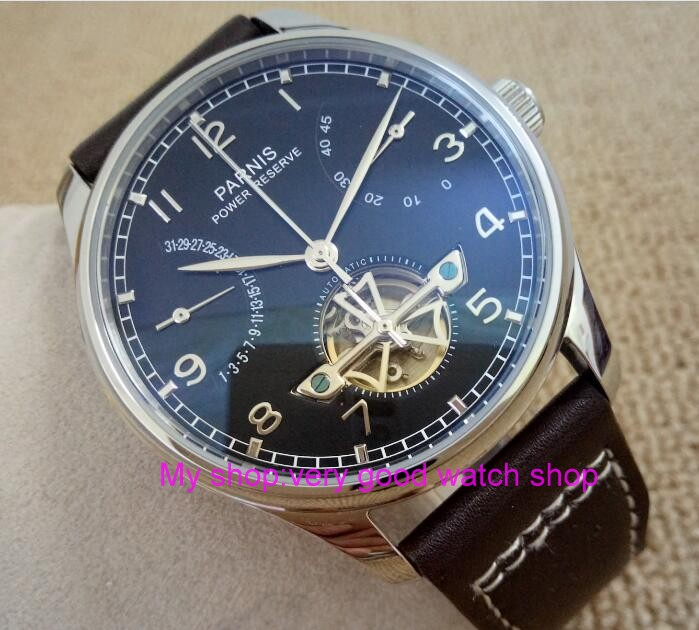Black dial 43mm PARNIS Automatic Self-Wind mechanical movement men watches power reserve Mechanical watches 195