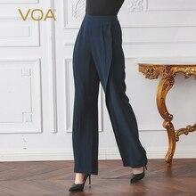 VOA 2017 Autumn Winter Navy Blue Loose Plus Size Flare Pants Brief Solid Mid Waist Casual Heavy Silk Women Long Trouser KLA01701