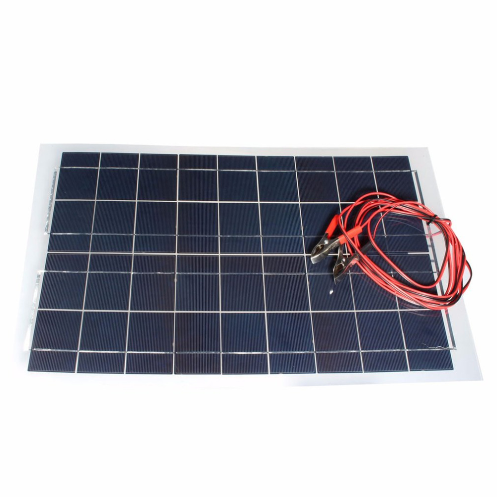 цена на Solar battery Solar Panel Alligator Clip Cable Portable High Efficiency Solar Panel 30W 12V for RV Boat Light dropshipping