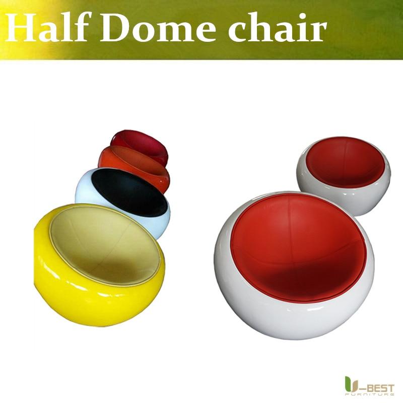U BEST Contemporary stylish fiberglass half dome chair replica genuine leather Scoop ball Fiberglass Eero Aarnio