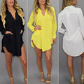 Womens Casual Long Sleeve V-Neck Oversize Loose Chiffon Top Blouse M-6XL