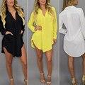 Womens Casual manga larga v-cuello de gran tamaño Loose gasa de la blusa M-6XL