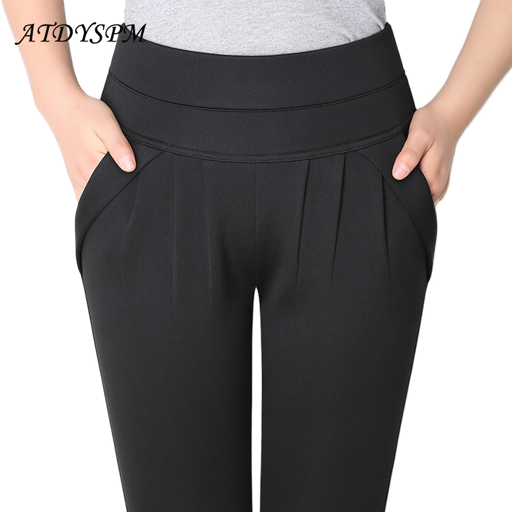 New Fashion Women's Elegant High Waist Casual Harem Pants Ladies Candy Color Wild Pocket Office OL Pants Plus Størrelse 6XL Bukser