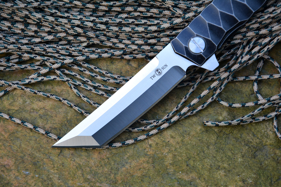 TWOSUN TS20 Fold Knife D2 Tanto tera kuullaagripesur Titaanist - Käsitööriistad - Foto 2
